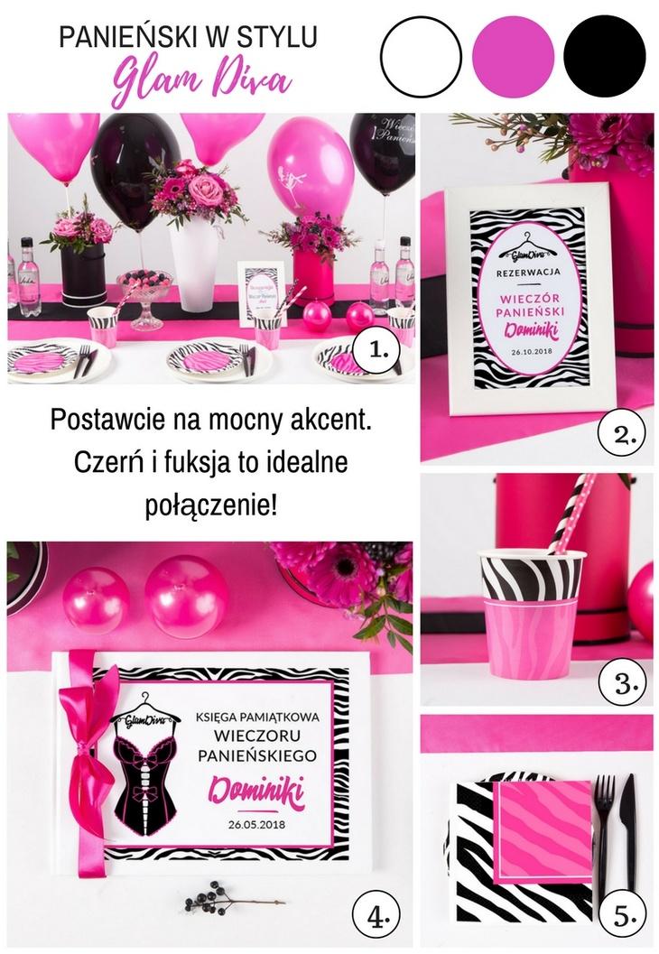 gadżety na panieński czarno-różowa kolorystyka