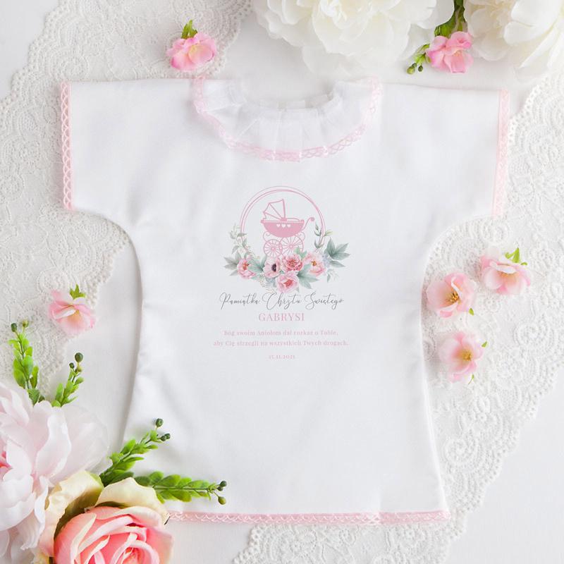 Szatka do Chrztu dziewczynki z różowym wózeczkiem i kwiatami