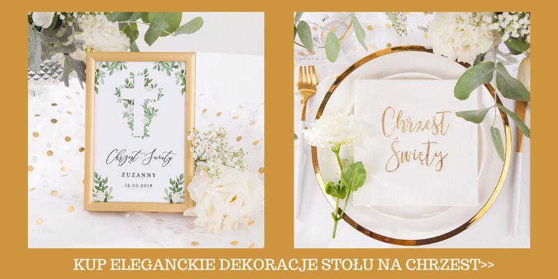 Eleganckie dekoracje stołu na Chrzest