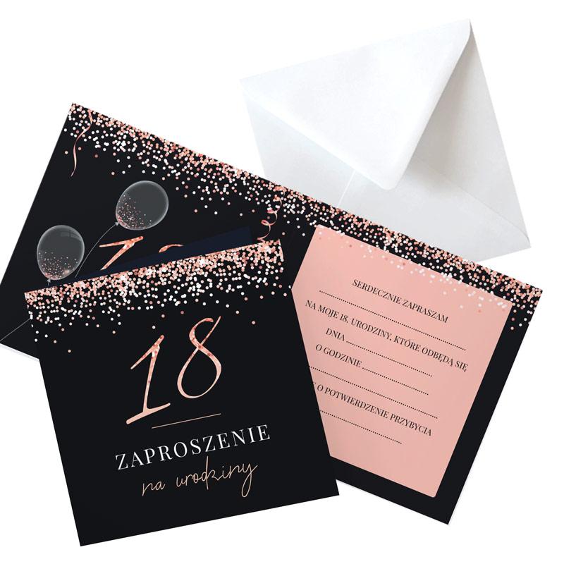 zaproszenia na 18 glamour rosegold