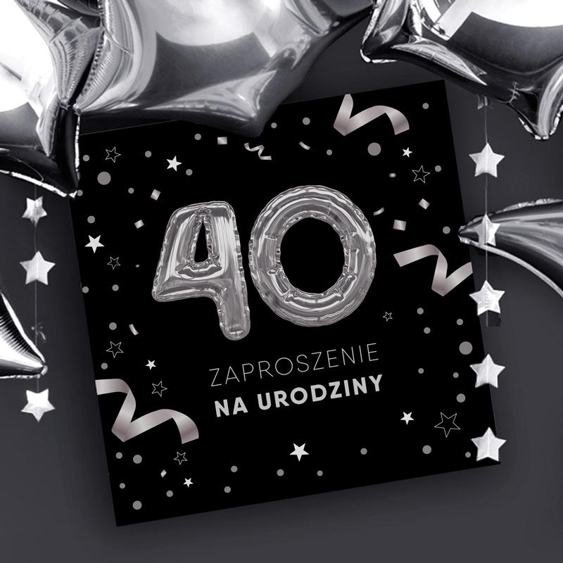 Zaproszenia na 40 urodziny czarne
