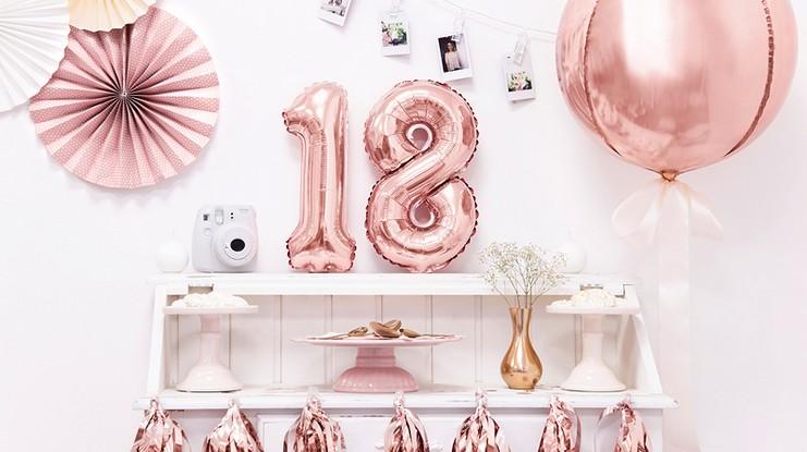 balony urodzinowe balony na 18 rosegold