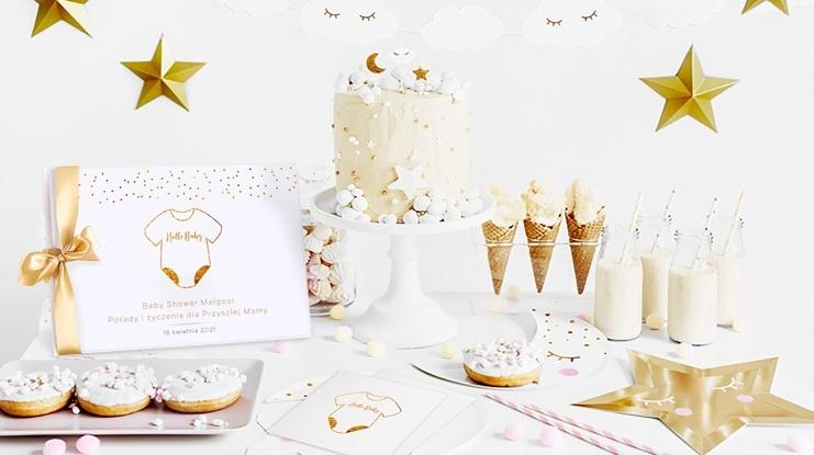Baby Shower dekoracje biało-złote