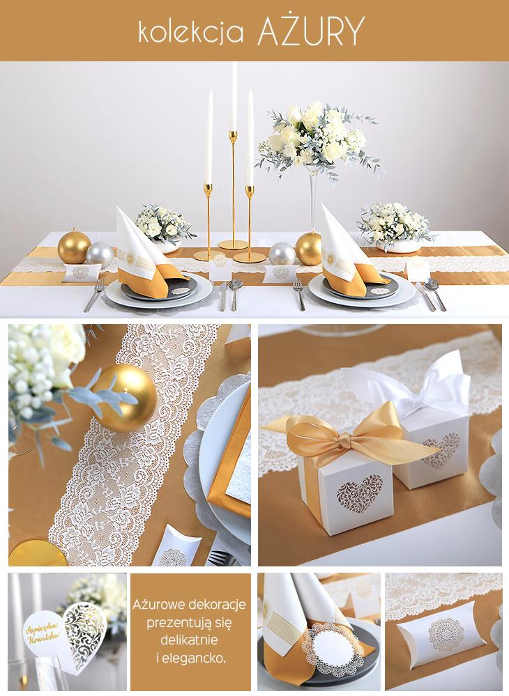 ażurowe dekoracje na stół komunijny