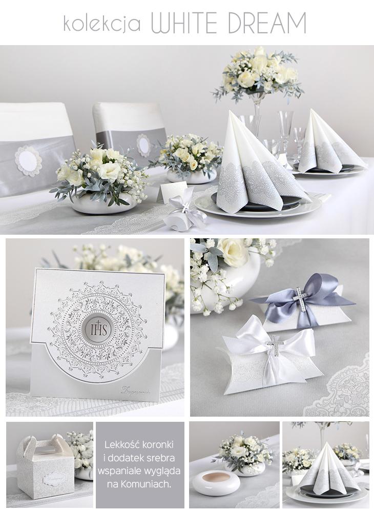 srebrne dekoracje na stół komunijny