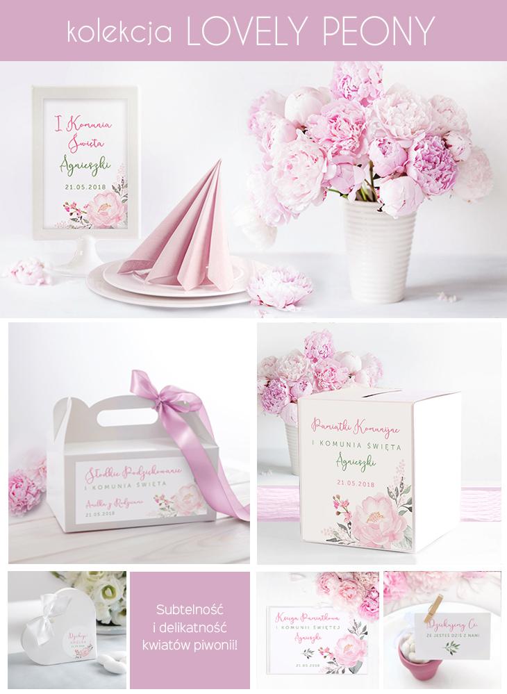 różowe dekoracje komunijne kwiaty piwonii