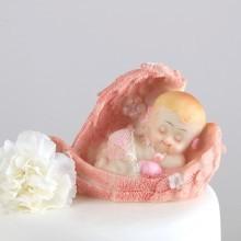 FIGURKA tortowa na Chrzest W Skrzydłach różowa KONIEC SERII