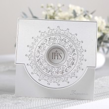 ZAPROSZENIA komunijne Srebrny Ornament 10szt (+koperty)