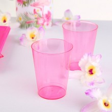 KUBECZKI różowe plastikowe koktajlowe 10szt KONIEC SERII