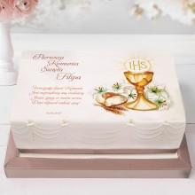 OPŁATEK personalizowany na tort Komunia Św 21x30cm