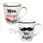 KUBKI Mr Right & Mrs Always Right PREZENT 2szt.