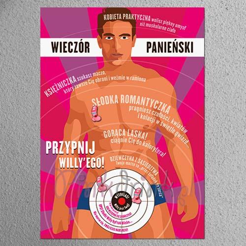 GRA na panieński Przypnij Willyego KULTOWA! (plakat+zestaw)