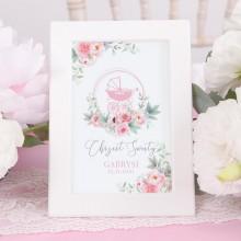 TABLICZKA na stolik na Chrzest Kwiatowy Wózek RÓŻ (+ramka)