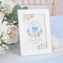 DEKORACJA stołu na Chrzest Tabliczka Kwiatowy Wózek BŁĘKIT (+ramka)