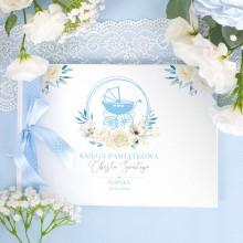KSIĘGA Pamiątkowa Chrztu Świętego Kwiatowy Wózek BŁĘKIT Z IMIENIEM (+wstążka w kropki błękit)