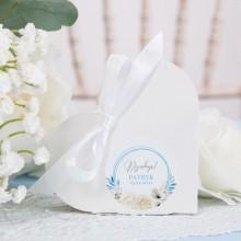 PUDEŁECZKA Serca na Chrzest Kwiatowy Wózek BŁĘKIT (+etykiety z imieniem+białe wstążki) 10szt