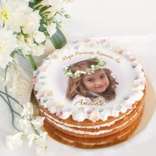 OPŁATEK na tort komunijny ZE ZDJĘCIEM! wzór I Ø20cm