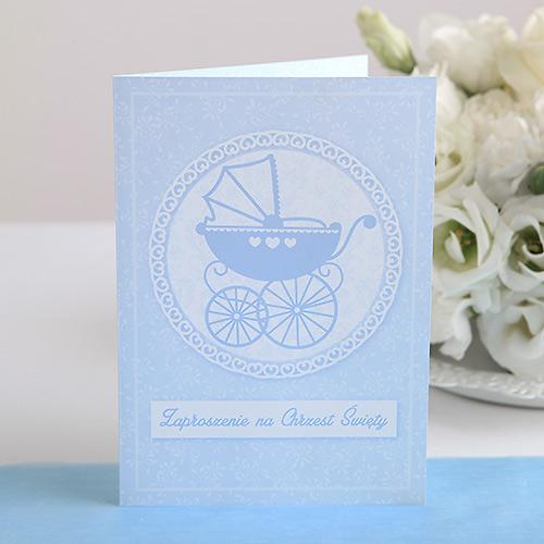Zaproszenie na chrzest Błękitny wózeczek (dla chłopca)