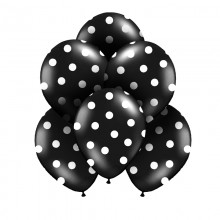 BALONY czarne w białe kropki 30cm 6szt