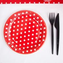 TALERZYKI papierowe czerwone w białe groszki Pin-Up Ø18cm 8szt KONIEC SERII