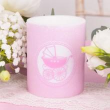ŚWIECA zapachowa na Chrzest Różowy Wózeczek 12cm/10cm DUŻA