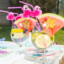 SŁOMKI plastikowe Flamingi Tropical Party 10szt