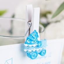 KLAMERKI dekoracyjne z błękitnym wózkiem 8szt KONIEC SERII