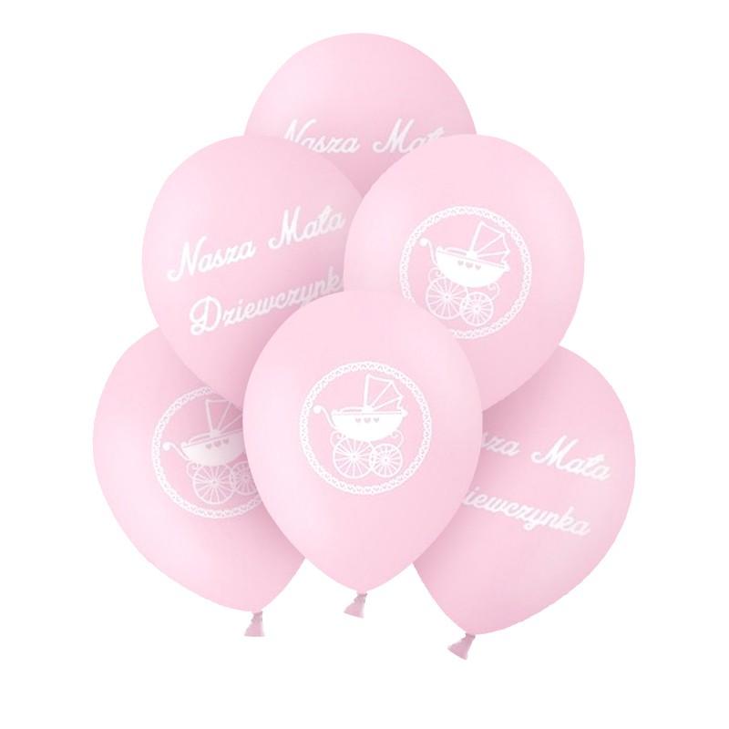 Balony na Chrzest dziewczynki różowe