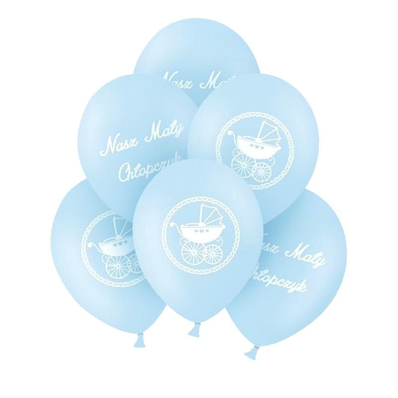 Balony na Chrzest chłopca błękitne