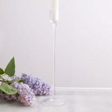 ŚWIECZNIK szklany na prostą świecę Soft 30cm