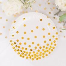 TALERZYKI papierowe Gold Dots 6szt
