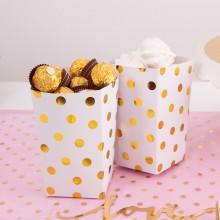 PUDEŁKA na popcorn/słodycze Gold Dots 4szt