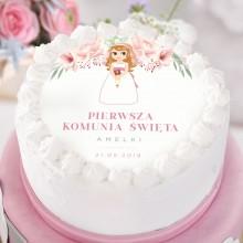 OPŁATEK personalizowany na tort Z dziewczynką Liliowe Love Ø20cm