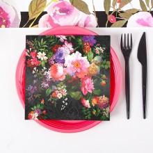 SERWETKI papierowe Dark Flowers 33x33cm 20szt KONIEC SERII