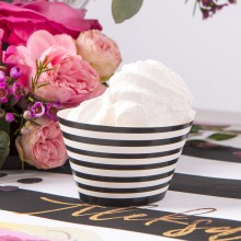 FOREMKI na muffinki czarno-białe paski 6szt