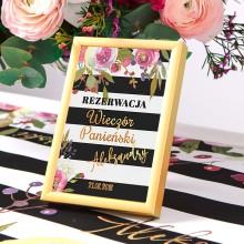 TABLICZKA Rezerwacja na stolik Flowers&Stripes (+złota metalowa ramka)