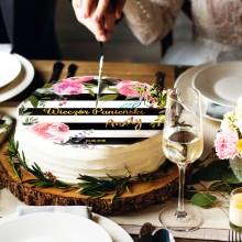 OPŁATEK personalizowany na tort Flowers&Stripes Ø20cm