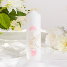 ŚWIECA pieńkowa na Chrzest Różowy Aniołek 16cmx5cm KONIEC SERII