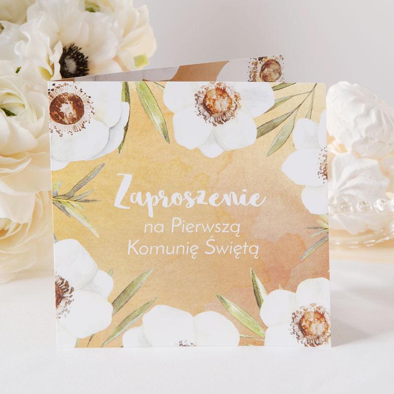 zaproszenia komunijne kremowe anemony