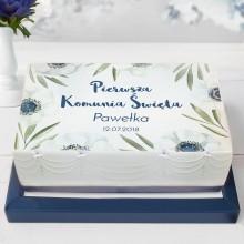 OPŁATEK personalizowany na tort Granatowe Anemony 21x30cm