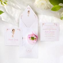 ZAPROSZENIE na Chrzest personalizowane Różowy Aniołek New (+koperta z wnętrzem+naklejka)