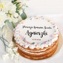 OPŁATEK personalizowany na tort Liliowe Love Ø20cm