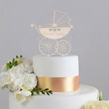 TOPPER na tort na Chrzest Wózeczek DREWNIANY