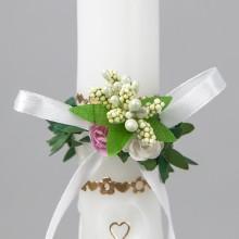 STROIK/OKAPNIK na świecę komunijną z mirtem i kwiatami