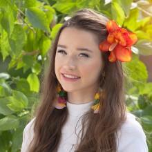 PRZYPINKI do włosów Hawajskie Kwiaty POMARAŃCZOWE 4szt KONIEC SERII