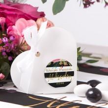 PUDEŁECZKA serca Flowers&Stripes (+etykiety z imieniem+białe wstążki) 10szt