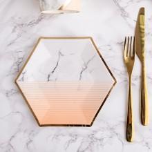 TALERZYKI papierowe Marble Peach 20cm 8szt KONIEC SERII