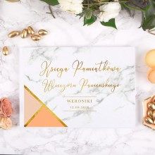 KSIĘGA PAMIĄTKOWA Wieczoru Panieńskiego Marble Peach Z IMIENIEM