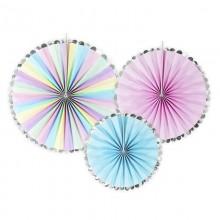 ROZETY dekoracyjne holograficzne Unicorn Jednorożec 3szt
