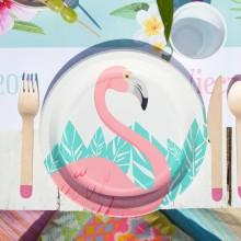 TALERZYKI papierowe Flamingo Hawajskie Party 8szt 23cm